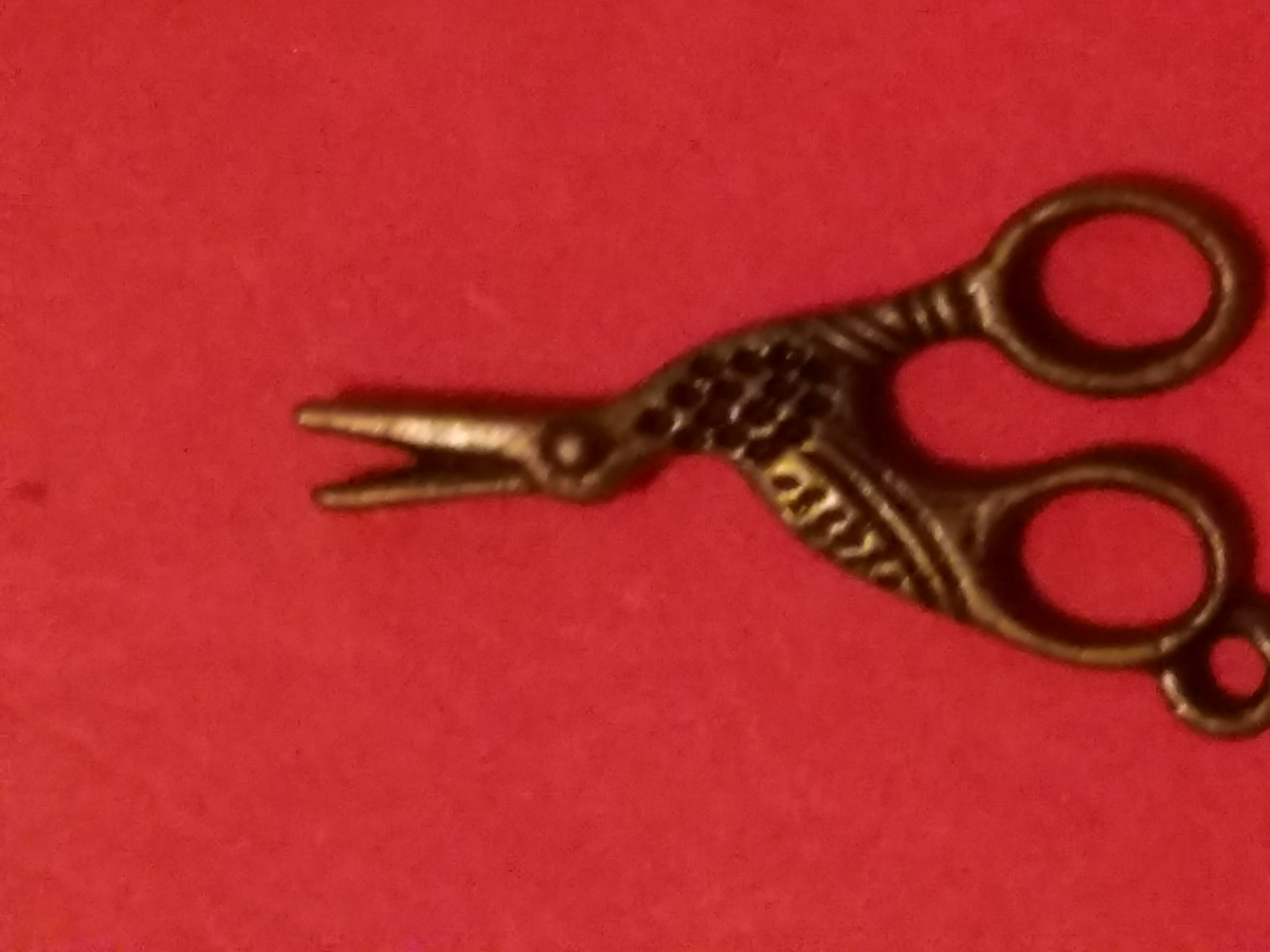Antique Charms Stork Scissors