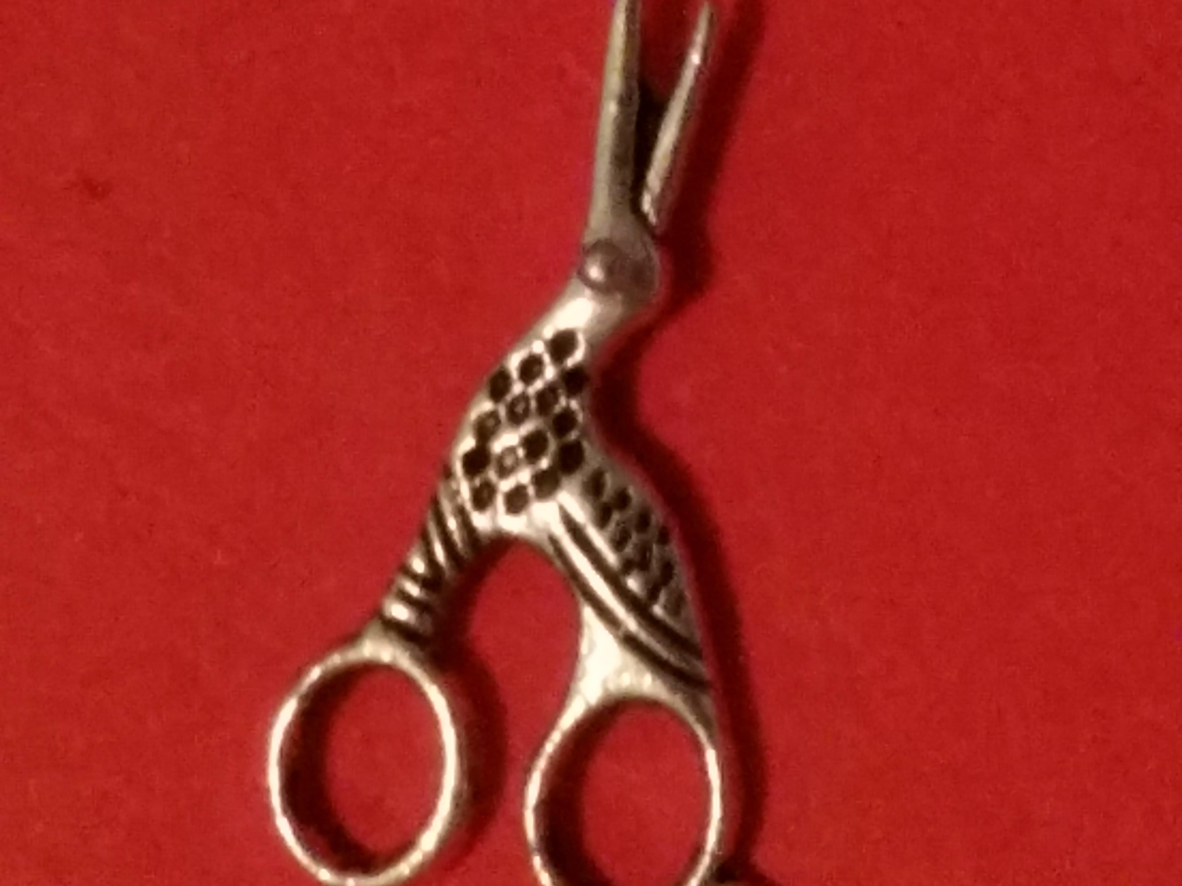 Antique Charms Stork Scissors 2 Silver