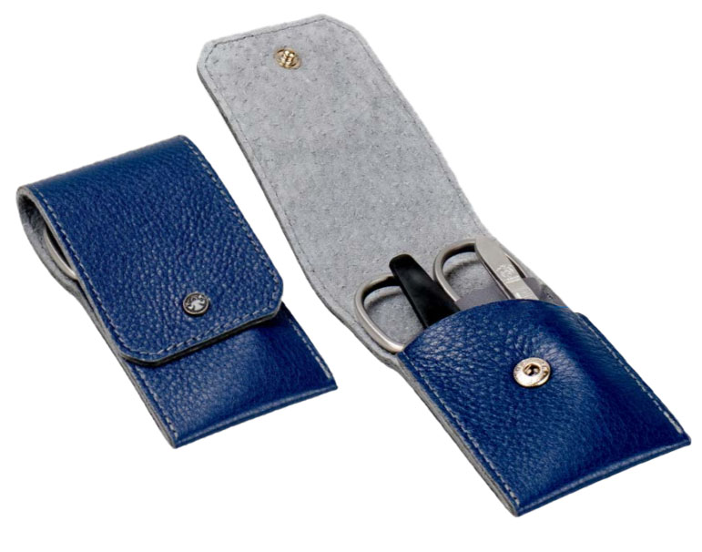Dovo 1082146 3 Piece Stainless Steel Manicure Set Blue Cowhide Case