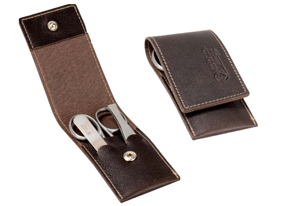 Dovo 1083056 3 Piece Stainless Steel Manicure Set Brown Cowhide Case