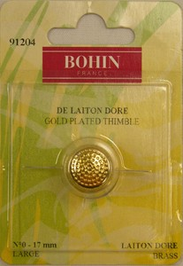 Bohin 91204 Gold Plated Brass Thimble Large