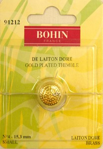 Bohin 91212  Gold Plated Brass Thimble Small