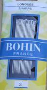 Bohin 0210  Sharps Size 3 (16 needles)