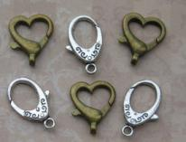 Mixed Heart and Oval Lobster Clasp (6)