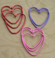 9 Heart Shaped Metal Rings (all Red)