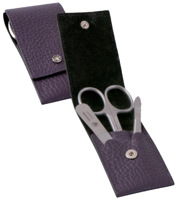 Dovo 1001126 3 Piece Stainless Steel Manicure Set Violet Cowhide Case