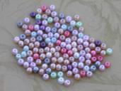 1 Once (about 125) 4 mm Mixed Glass Pearl  Beads