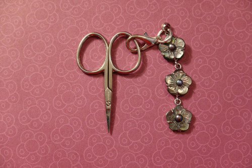 Mother Of Pearl Scissors Fob Floral Chain Moonlight 3