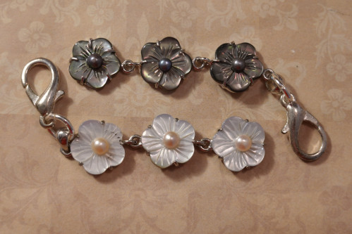 Mother Of Pearl Scissors Fob Floral Chain Moonlight